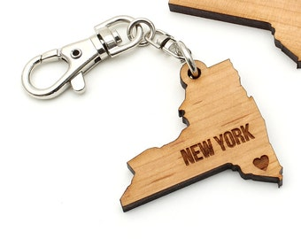 New York State Key Chain Key Clip - Customization Option Available. Pick Your Own City