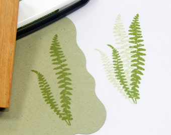 Dainty Fern Fronds Olive Wood Stamp