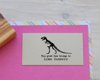T Rex Skeleton Bookplate/Ex Libris Stamp on Olive Wood