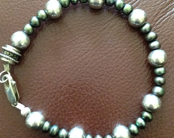 Sterling and freshwater pearl bracelet