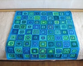 Granny square afghan blanket, warm, wrap,handmade, crochet, patchwork, blue and green, cozy, baby blanket