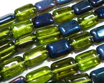 Czech Glass Olivine Green Azuro Rectangles 8x12mm - 24 beads