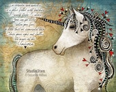 Unicorn / original illustration ART Print Hand SIGNED size 8 x 10