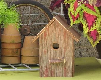 Rustic Repurposed Red Barnwood Birdhouse Garden Art