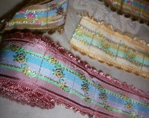 Vintage Gorgeous french ribbon trim with roses