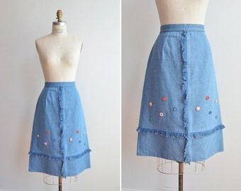 SALE / Vintage 1990s fringed aline denim skirt