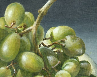 Original Acrylic Painting, Still Life of Green Grapes, Kitchen Art Home Decor