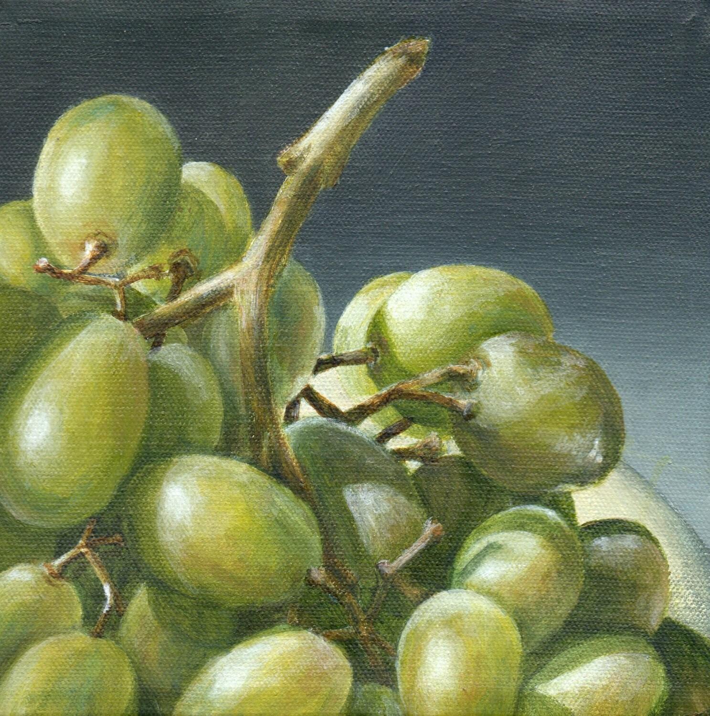 Original Acrylic Painting, Still Life Of Green Grapes, Kitchen Art Home  Decor