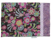 Travel Size Pillow Case Purple and Hot Pink Flowers