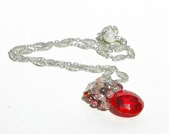 NEW Red Topaz & Spinel Pendant / Gemstone Necklace / Sterling Silver / Wire Wrapped / Red Pendant / Multicolor / Pink Purple / OOAK
