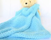 Crochet baby blanket turquoise blue soft afghan infant crib bedding fluffy newborn shower gift photography prop bulky washable