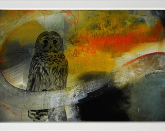Owl Giclee Print,Owl Red Black Modern Painting,Large owl Painting,owl Art Print,owl Fine Art Print,Abstract owl painting,digital painting