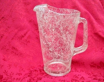 """Vintage glass pitcher with white """"Spaghetti String/Scribble"""" Pattern"""