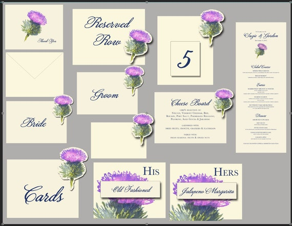 Thistle - Wedding paper Suite - Wedding Place Card - Gift Card - Table Number Card - Menu Card -weddings events