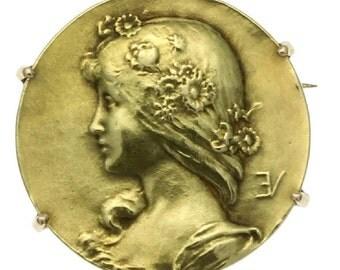 Antique gold pin Lady face signed Emile Vernier France c.1890