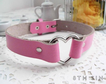 Pink Leather Heart Ring Choker, Pink Heart Choker, Pink Leather Choker, Leather Heart Choker, Pink Heart Ring Choker, Heart Ring Necklace