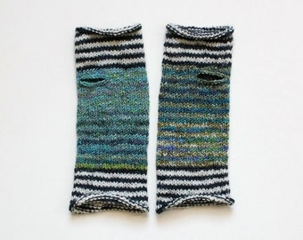 Ocean Waves Striped Hand Knit Wrist Warmers