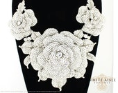 Rose Bridal Jewelry Set, Statement Necklace, Vintage Inspired Necklace, Crystal Necklace, Chunky Necklace