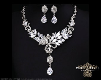 Bridal Statement Necklace, Wedding Jewelry Set, Cubic Zirconia Necklace, Bridal Earrings, Vintage Inspired Necklace, Crystal Necklace