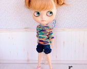 Colored Butterfly Sweater for Blythe Doll