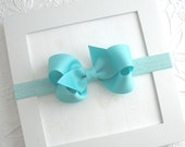 Baby Headband Bows ~ 3 inch Aqua Boutique Bow on Stretch Headband for Newborns, Infants, Babies, Girls ~ Baby Girl Aqua Bow Headband