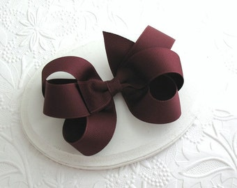 Maroon Hair Bow, School Uniform Colors Girls Loopy Hair Bow, Large Boutique Bow, Thanksgiving Hair Bow, Toddler Bows, Autumn Hair Accessory