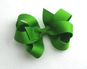 St. Patrick's Day Hair Bow ~ Large Elegant Emerald Green Boutique Bow for Girls, Toddlers