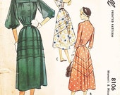 """Vintage 1950s Dress Sewing Pattern - McCall 8106 - Misses' Yoked Front One-Piece Day Dress with Sleeves in Three Ways- Sz 20/Bust 38"""""""