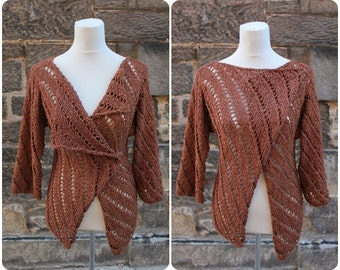 CARDIGAN, womens jacket, wrap, vegan sweater, asymmetric lace jacket, silk cotton cardigan
