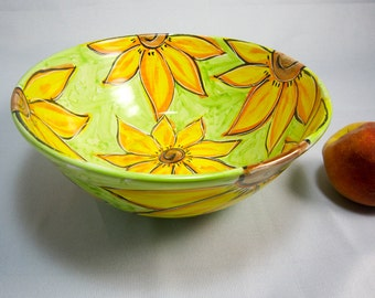 Large Ceramic Serving Bowl Yellow Sunflowers on Lime Green Pottery Majolica