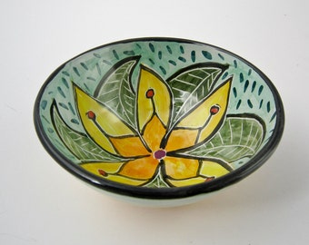 Hostess Gift - Ceramic Pottery Bowl - Ice Cream Bowl - Small Serving Bowl - Cereal Bowl - Mandala Zen Doodle Yellow Flower - Majolica Bowl