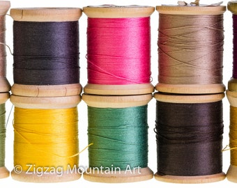 Spools of thread in a row.  Sewing still life wall art from still photography.  Fine art print for home decor or wall art.