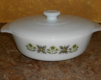 Fire King Round Casserole 1 Quart Anchor Hocking Casserole Dish With Lid-Meadow Green