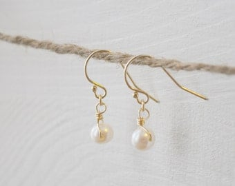 Tiny Pearl Earrings - small freshwater pearls gold filled or sterling silver dangle - simple wedding or everyday jewelry - adenandclaire