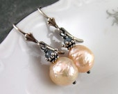 Peach baroque pearl earrings with blue sapphire, handmade sterling silver earrings