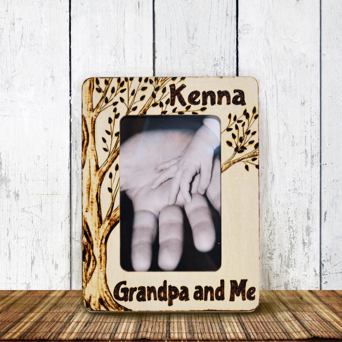 Grandpa And Me Picture Frame Wood Burned Personalized Rustic