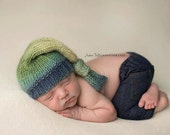 Newborn Prop, Hand Knit Baby Hat,  Knotted Hat, Long tailed hat