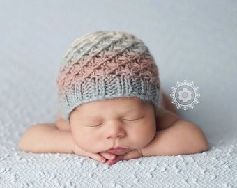 Knit newborn hat, photography prop, colorful baby hat, Newborn Photo Prop, Beanie Hat, Hand knit baby hat, Textured Beanie
