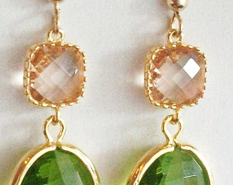 Peridot Earrings, Champaigne Earrings, Peach Earrings, Green Earrings, Gold, glass Earrings, Wedding , Bridesmaid Earrings, Bridal Earrings