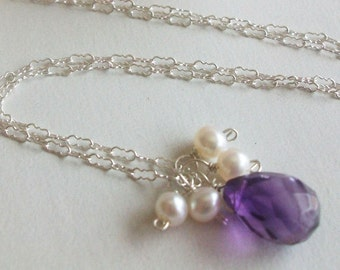 Amethyst Necklace Purple Gemstone Necklace Freshwater pearl wire wrapped pearl silver necklace, wedding, bridesmaids, gift for mom, sister