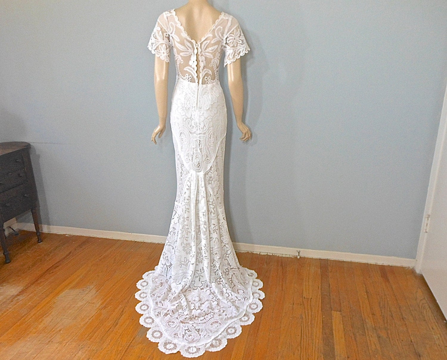Wedding Dresses: Vintage Lace WEDDING Dress Crochet Lace Wedding Dress Hippie