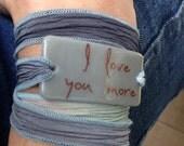 Personalized Bracelet fused glass wrap bracelet on hand dyed silk ribbon, personalized, customized