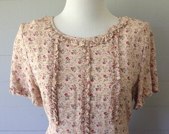 Vintage 1980s Dress / Womens Summer Floral Dress with Ruffled Bodice