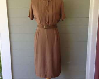 Vintage 1950s Classic Shirtwaist Dress / Wiggle Dress / Mid Century Shirtwaist Dress / Pin Tucked Bodice / Fashioned by Lampl