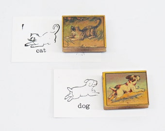 Victorian Antique Rubber Stamps - Cat & Dog Color Litho Graphic Wood Block Mixed Media Art Supplies