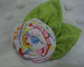 Pastel Rolled Rose Hair Clip