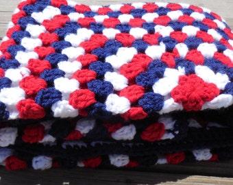 Crochet Baby Blanket Red White and Blue Baby Blanket Patriotic Blanket Baby Afghan Photo Prop 34 x 34