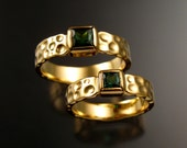Green Tourmaline square Moonscape rings His and Hers matching Emerald substitute Wedding rings set in 14k Yellow Gold in your size