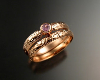 Pink Sapphire Wedding set 14k Rose Gold Victorian bezel set Pink Diamond substitute ring made to order in your size