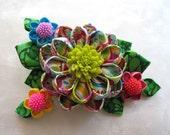 Spring in Profusion Kanzashi Flower Hair Clip Multicolor Mountain Musings